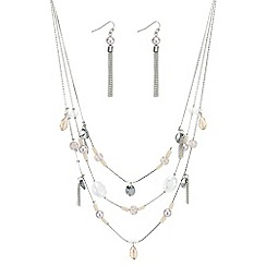 Mood - Multi row beaded charm necklace and earring set