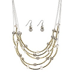 Mood - Gold tube and bead necklace and earring set