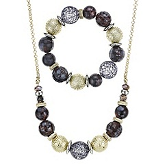 Mood - Textured ball and disc necklace and bracelet set