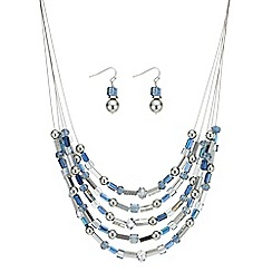Mood - Blue beaded multi row necklace and earrings set