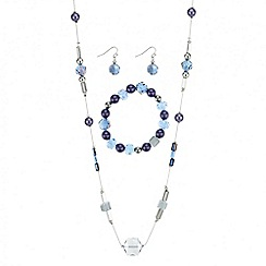 Mood - Blue beaded long necklace jewellery set