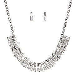 Mood - Crystal baguette necklace and matching earring set