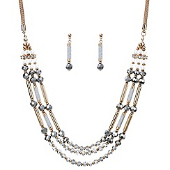 Mood - Rose gold beaded multi row necklace and earring set