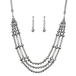 Mood - Silver beaded multi row necklace and earring set