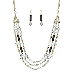 Mood - Monochrome beaded multi row necklace and earring set
