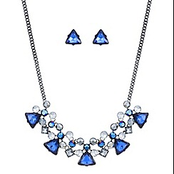 Mood - Metallic blue crystal cluster necklace and earring set