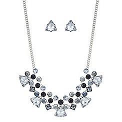 Mood - Metallic crystal cluster necklace and earring set