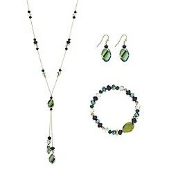 Mood - Metallic green beaded jewellery set