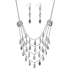 Mood - Silver navette droplet multi row necklace and earring set