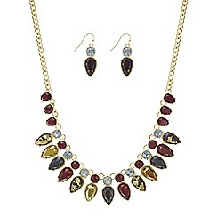 Mood - Red tonal crystal droplet necklace and earring set