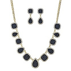 Mood - Jet druzy stone necklace and earring set
