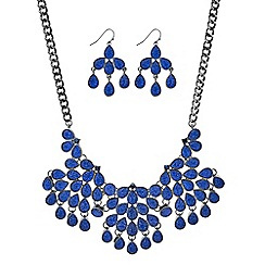 Mood - Blue druzy teardrop statement necklace and earring set