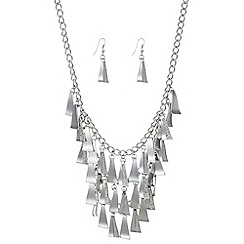 Mood - Silver pave shower necklace and earring set