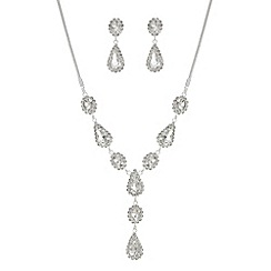 Mood - Silver crystal y necklace and matching earring set