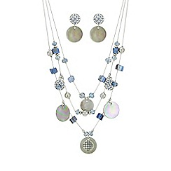 Mood - Multi row shell necklace and earring set