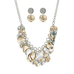 Mood - Two tone textured disc jewellery set