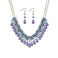 Mood - Purple beaded collar jewellery set