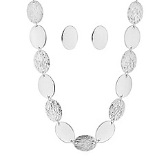 Mood - Silver textured oval disc jewellery set