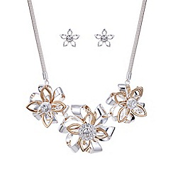 Mood - Two tone crystal floral jewellery set
