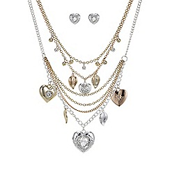 Mood - Two tone multi row charm jewellery set