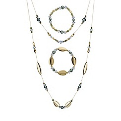 Mood - Green beaded multi row jewellery set