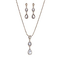 Mood - Rose gold crystal peardrop jewellery set