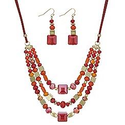 Mood - Orange beaded jewellery set