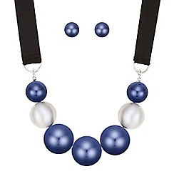 Mood - Oversized blue pearl jewellery set