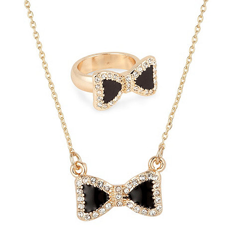 Mood - Crystal bow pendant necklace and bow ring set