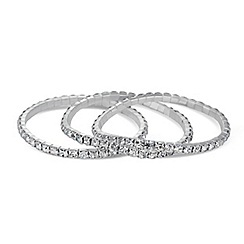 Mood - Set of three diamante crystal stretch bracelets