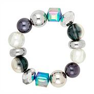 Cool blue and polished silver multi bead stretch bracelet