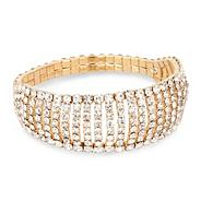 Diamante crystal multi row stretch bracelet