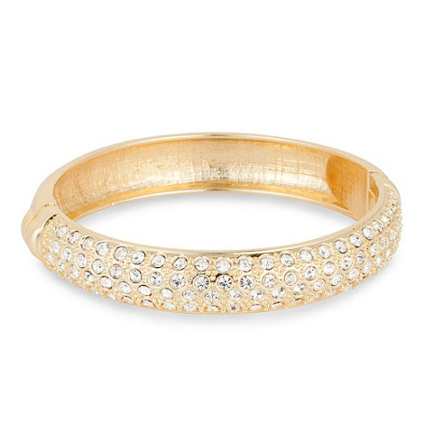 Mood - Crystal encased gold hinged bangle