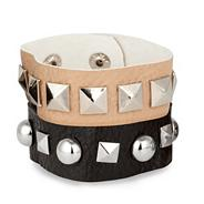 Set of two faux leather studded bracelets