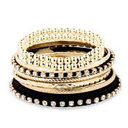 Mixed gold and jet textured bangle pack