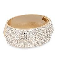 Crystal embellished gold hinged bangle