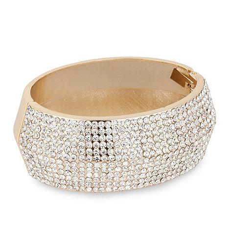Mood - Crystal embellished gold hinged bangle