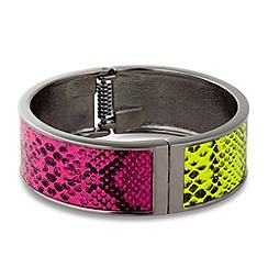 Mood - Green and pink snake print panelled bangle