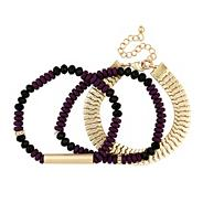Triple purple bead and gold chain bracelet set