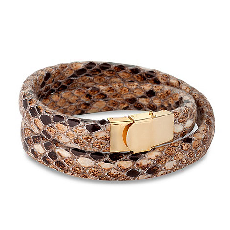 Mood - Brown snake skin effect wrap bracelet