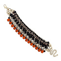 Mood - Jet fabric and orange bead wrap bracelet