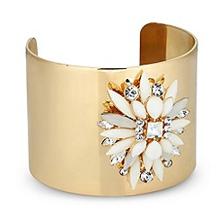 Mood - Statement jewelled gold cuff bracelet