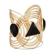 Statement jet facet stone cuff