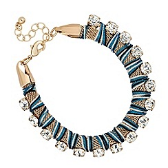 Mood - Diamante crystal and blue mesh wrap bracelet