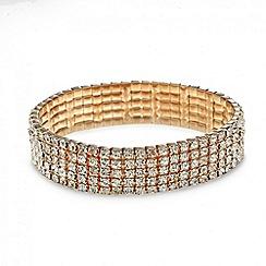Mood - Rose gold diamante crystal multi row bracelet