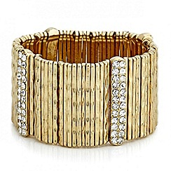 Mood - Textured gold crystal embellished stick stretch bracelet