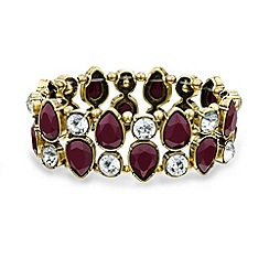 Mood - Burgundy teardrop and crystal stretch bracelet