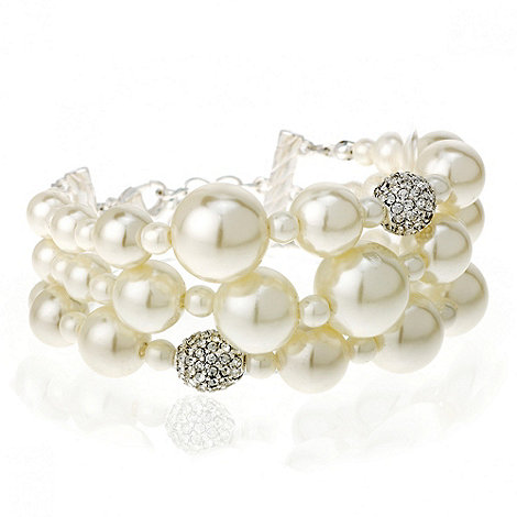 Mood - Pearl and crystal ball triple row bracelet