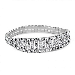 Mood - Diamante crystal five row stretch bracelet
