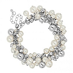 Mood - Pearl and silver ball cluster drop bracelet